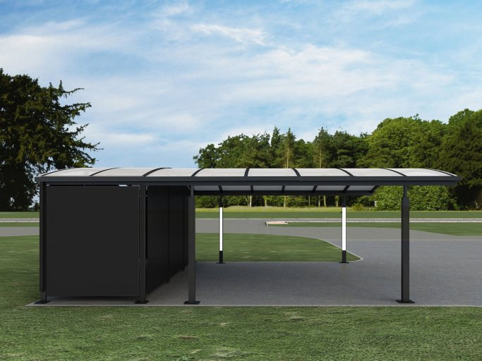 Double carport with shed